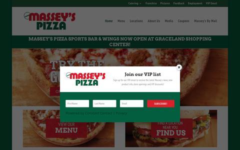 Screenshot of Home Page masseyspizza.com - Home - Massey's Pizza - captured Sept. 20, 2018