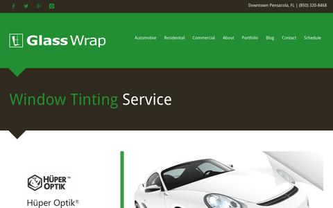 Screenshot of Home Page glasswrap.com - Glass Wrap | Window Tinting Service - Pensacola, FL - captured Dec. 1, 2015