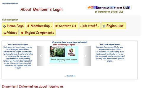 Screenshot of Login Page barringtondieselclub.co.za - Member's Login at Barrington Diesel Club - captured Feb. 2, 2017