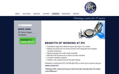 Screenshot of Jobs Page ipctech.com - Benefits of Working at IPC - IPC - captured Oct. 4, 2017