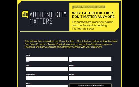 Screenshot of Landing Page momentfeed.com - Authenticity Matters - Webinar Series - captured May 11, 2016