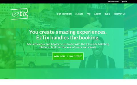 Screenshot of Home Page eztix.com - EzTix Event Ticketing | We Ticket The World - captured Jan. 31, 2016
