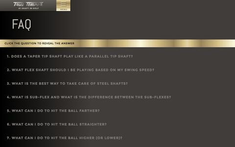 Screenshot of FAQ Page truetemper.com - True Temper Golf - captured Sept. 19, 2014