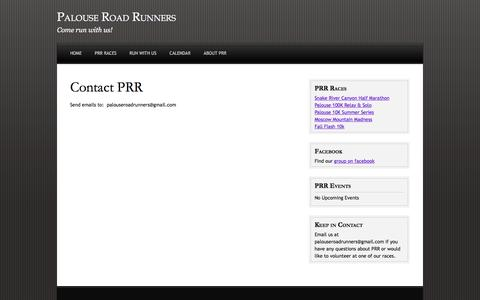 Screenshot of Contact Page palouseroadrunners.org - Contact PRR - captured March 11, 2016