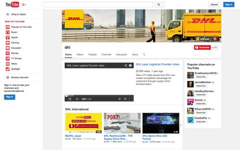 Screenshot of YouTube Page youtube.com - dhl  - YouTube - captured Oct. 26, 2014