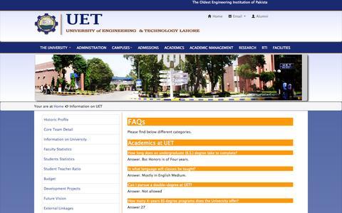 Screenshot of FAQ Page uet.edu.pk - University of Engineering and Technology(UET)Lahore - captured Sept. 19, 2014