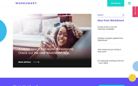 Screenshot of Home Page worksmart.org.uk - WorkSmart: The career coach that works for everyone - captured Nov. 10, 2018