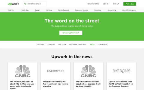 Screenshot of Press Page upwork.com - Press, News & Media Coverage | Upwork - captured Nov. 22, 2018