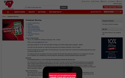 Screenshot of Support Page shopno47.com - Customer Service - captured Oct. 30, 2014