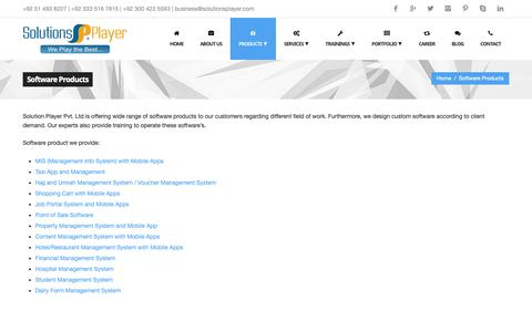 Screenshot of Products Page solutionsplayer.com - Software Products Development Services in Islamabad | SolutionsPlayer - captured Oct. 18, 2018