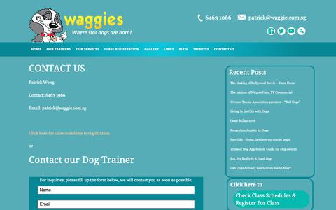 Screenshot of Contact Page waggie.com.sg - CONTACT US - captured Nov. 15, 2018