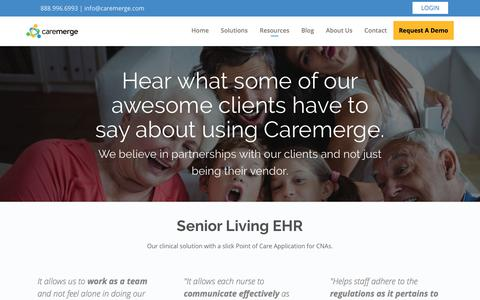 Screenshot of Testimonials Page caremerge.com - Testimonials - Caremerge - captured March 10, 2018