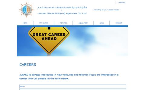 Screenshot of Jobs Page jgsaco.com - Jordan Global Shipping Agencies Co. Ltd | JGSACO | 71, Wasfi Altall St | CAREERS - captured Nov. 27, 2016