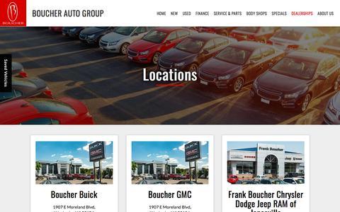 Screenshot of Locations Page boucher.com - Car Dealer Locations   Boucher Auto Group - captured Sept. 24, 2018