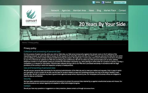 Screenshot of Privacy Page comvort.com - Privacy policy | Comvort - captured Sept. 19, 2014