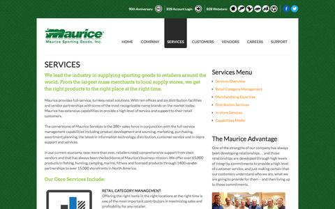 Screenshot of Services Page maurice.net - Services | Maurice Sporting Goods - captured Oct. 27, 2014