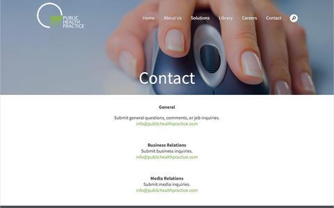 Screenshot of Contact Page publichealthpractice.com - Public Health Practice LLCContact - Public Health Practice LLC - captured Sept. 30, 2018