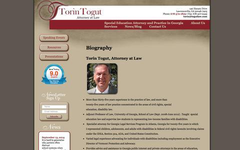 Screenshot of About Page togutlaw.net - Biography - Togut Law Togut Law - captured Oct. 9, 2014
