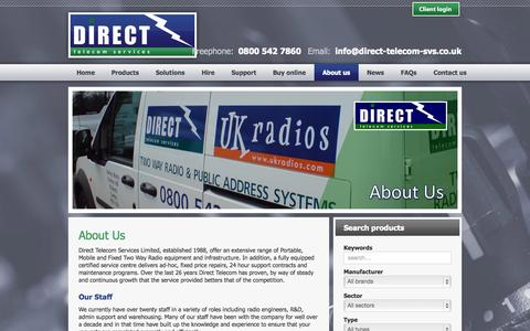 Screenshot of About Page direct-telecom-svs.co.uk - Direct Telecom Services - About us - captured Oct. 5, 2014