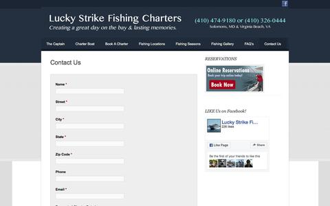 Screenshot of Contact Page luckystrikefishingcharters.com - Contact Us | - captured June 22, 2016