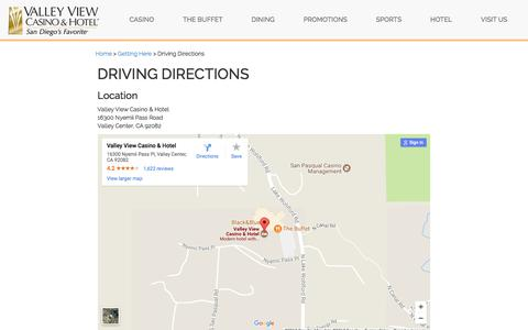 Screenshot of Maps & Directions Page valleyviewcasino.com - Driving Directions to San Diego Casino | Valley View - captured Nov. 13, 2017