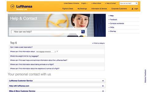 Screenshot of Contact Page lufthansa.com - Help - Lufthansa ® United States of America - captured June 27, 2016