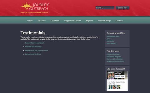 Screenshot of Testimonials Page journeyoutreach.org - Testimonials | Journey Outreach - captured June 8, 2017