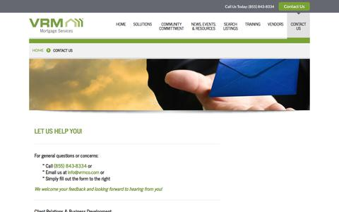 Screenshot of Contact Page vrmco.com - Contact Us | VRM Mortgage Services - captured Nov. 6, 2017