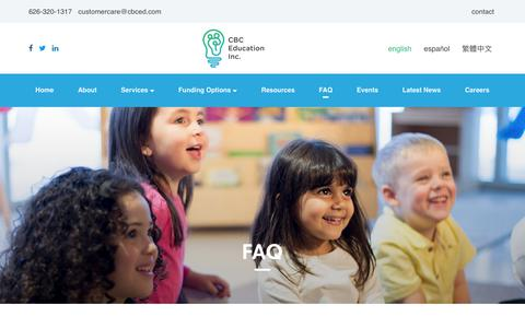 Screenshot of FAQ Page cbceducation.net - Frequently Asked Questions Autism Services | CBC Education - captured July 7, 2017