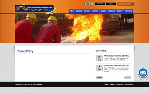 Screenshot of Privacy Page etsdc.com - Welcome to Emirates Technical & Safety Development Centre  [ETSDC] - captured Oct. 2, 2014