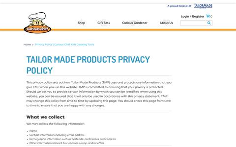 Screenshot of Privacy Page curiouschef.com - Privacy Policy | Curious Chef Kids Cooking Tools - captured July 22, 2018