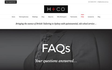 Screenshot of FAQ Page handco.com.au - FAQs - H and Co - captured March 11, 2017