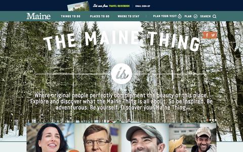 Screenshot of Home Page visitmaine.com - Visit Maine - captured Jan. 27, 2015