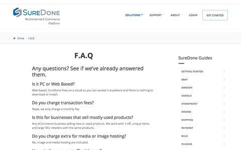 Screenshot of FAQ Page suredone.com - F.A.Q | SureDone - captured Nov. 9, 2017