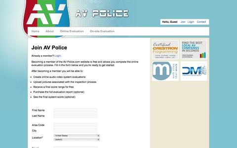 Screenshot of Signup Page avpolice.com - Join | AV Police - captured Oct. 4, 2014