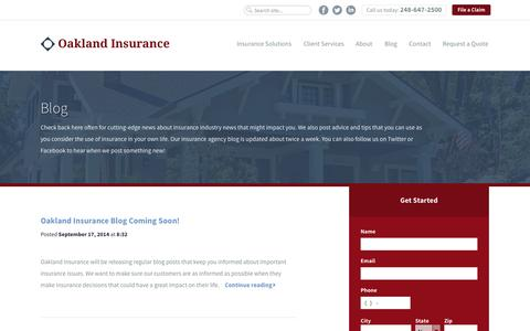 Screenshot of Blog oaklandinsurance.com - Insurance Agency Blog | Oakland Insurance - captured Oct. 29, 2014