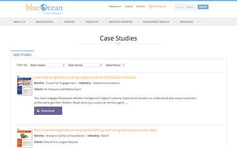 Screenshot of Case Studies Page blueoceanmi.com - Case Studies - captured Sept. 17, 2017