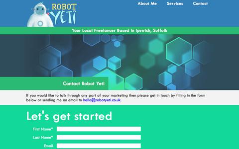 Screenshot of Contact Page robotyeti.co.uk - Contact Robot Yeti Freelance Online Marketing | Robot Yeti Ipswich - captured Feb. 12, 2018