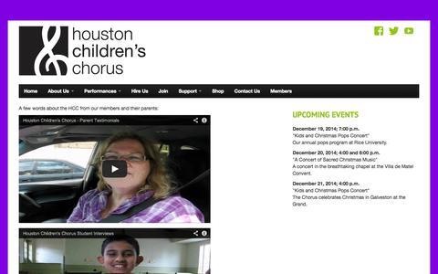 Screenshot of Testimonials Page houstonchildren.org - Testimonials   - captured Oct. 3, 2014