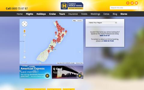 Screenshot of Contact Page harveyworld.co.nz - Our Locations - captured Oct. 2, 2014