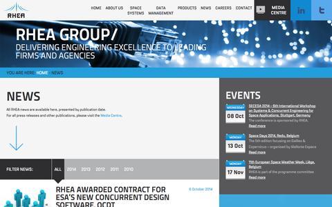Screenshot of Press Page rheagroup.com - News - RHEA Group - captured Oct. 7, 2014