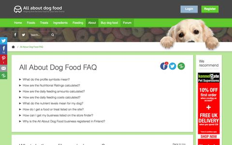 Screenshot of FAQ Page allaboutdogfood.co.uk - All About Dog Food - Site FAQ - captured Aug. 18, 2019