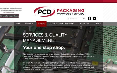 Screenshot of Services Page pcdpackaging.com - Packaging Services - captured Sept. 26, 2018