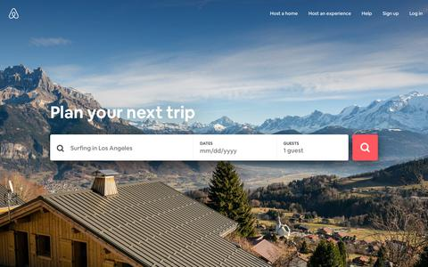 Screenshot of Home Page airbnb.com - Vacation Rentals, Homes, Experiences & Places - Airbnb - captured Feb. 10, 2019