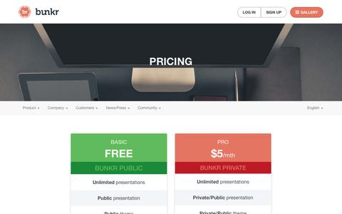Screenshot of Pricing Page bunkr.me - Discover our opportunities to make powerful presentations - captured Oct. 22, 2014