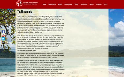 Screenshot of Testimonials Page crsmt.com - Costa Rica School of Massage Therapy - captured Oct. 3, 2014