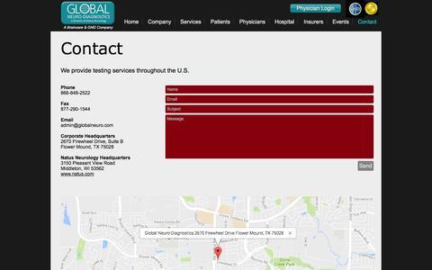 Screenshot of Contact Page globalneuro.net - Contact Global Neuro-Diagnostics - captured Nov. 8, 2016