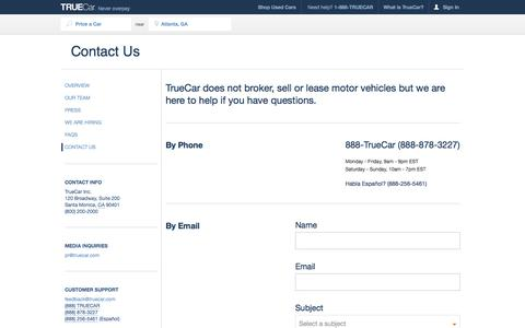 Screenshot of Contact Page truecar.com - TrueCar Contact Us - captured Oct. 10, 2014