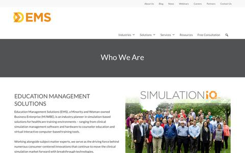 Screenshot of About Page simulationiq.com - Who We Are | Education Management Solutions - captured Oct. 27, 2019