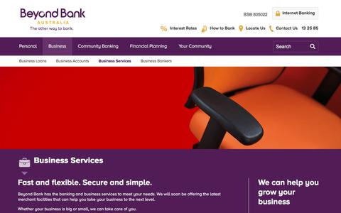 Screenshot of Services Page beyondbank.com.au - Business Services | EFTPOS systems and leasing services | Beyond Bank - captured Nov. 22, 2016